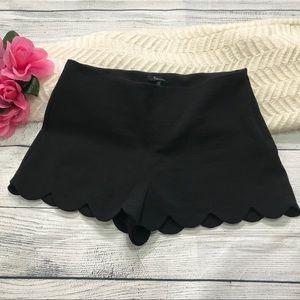 Monteau Black Scalloped High Rise Shorts Sz Medium